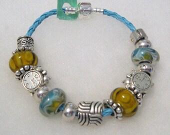 428 - Aqua & Yellow Beaded Bracelet