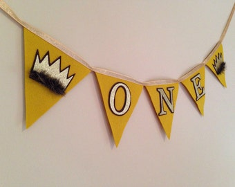 First Birthday Max Where the Wild Things Are Felt Birthday Banner Bunting, Pennant Decoration, 1st One, Photo Prop, Party Pictures