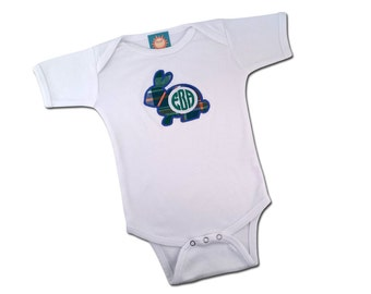 Baby Boy's '1st Easter' Plaid Rabbit Bodysuit with Monogram