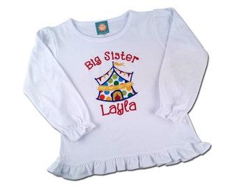 Big Sister Circus Shirt with Embroidered Name -  F22