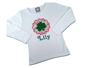 Girl's St Patrick's Day Shirt with Glitter Shamrock and Name