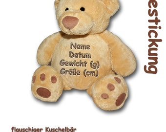 Fluffy Teddy Bear with Embroidery