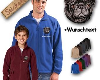 Cosy fleece jacket jacket embroidery embroidered dog PUG BLACK + Own Words