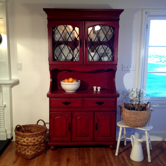 Red Rustic Farmhouse Inspired Hand-Painted China Cabinet