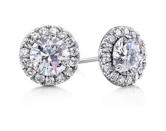 Moissanite Diamond Earrings 2.44ct Round Forever One Moissanite & Genuine Diamond Earrings 14kt White Gold Halo FSI1 Diamonds Earrings