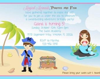 Mermaids and Pirates Invitation - Digital File