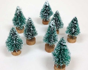 5 Small Bottlebrush Trees, Miniature Evergreen Bottle Brush Tree, Sisal Christmas Village Woodland Decor