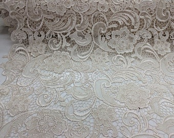 Ivory flower guipure lace embroider. Sold by the yard.36x45inches.