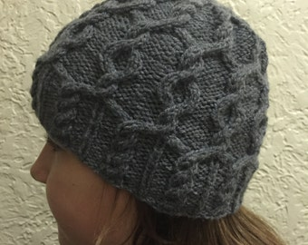 Gray Hat with Cable Stitch Design, Hand Knitted Hat
