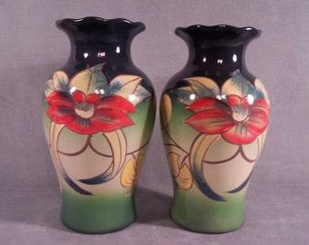 Vintage Vases European Hand Painted Pair     S509