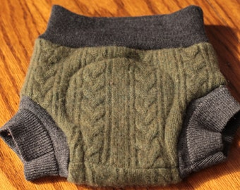 Upcycled Wool Shorties, 6-12 Months, Green and Greys, Cashmere