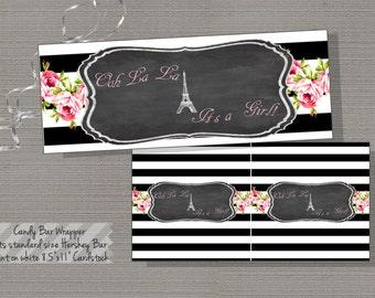 Paris Candy Bar Wrapper, Eiffel Tower Candy Bar Wrapper, Candy Bar Wrap, Chalkboard - Paris Collection