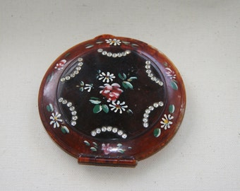 Vintage  Mavco Powder Compact Tortoise Lucite Hand Painted Flowers