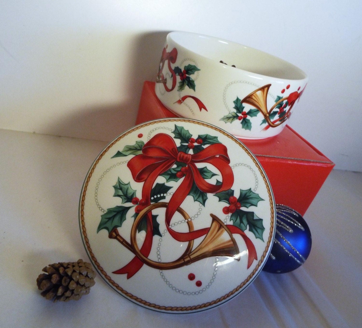 Vintage mikasa candy dish christmas by jjhandpaintedleather
