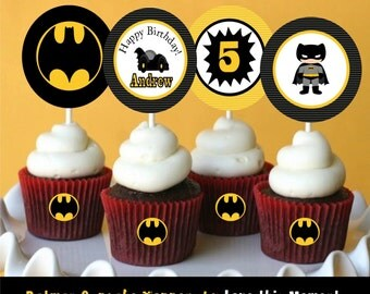 Batman Cupcake Toppers by Love this Moment!!
