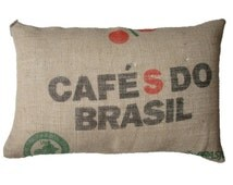 Cushion Cafe do Brasil, made with recycled coffee sack fabric. Ecologic. Insert included.