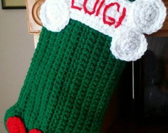 Crochet Personalized Dog Stocking