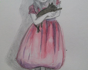 the girl with a cat.