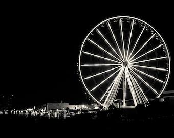 Ferris Wheel at Night in Myrtle Beach, South Carolina Print or Canvas