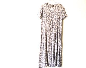 Vintage 80s Blue Floral Dress, Long Maxi Dress, Zashi New Old Stock,