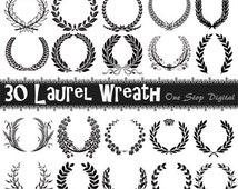 Instant Download 30 Digital Wreath and Laurel Clipart Laurel Wreath Digital Clip Art Scrapbooking Black Wreath Laurel Element 0067