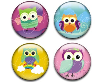 Set of 4, Owl Glass Tile Magnets, Round Glass Magnets, Circle Refrigerator Magnets, Fridge Magnets