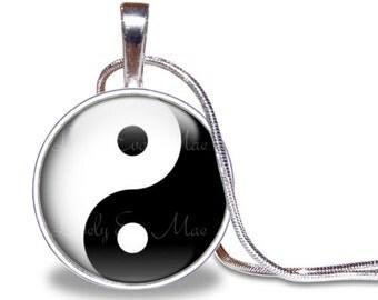 Yin Yang Necklace, Yin Yang Pendant, Yin Yang Jewelry, Yin & Yang Necklace, Yin and Yang Pendant, Silver Plated, Black and White Necklace