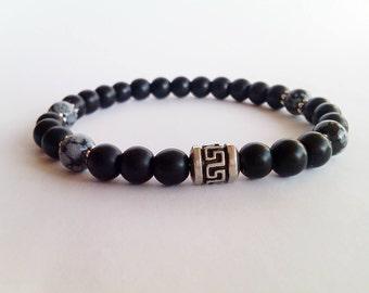 Snowflake Obsidian Men Bracelet,Obsidian Bracelet,Stretch Bracelet,Black Onyx Bracelet,Gemstone Men Bracelet,Men Beaded Bracelet,Men Jewelry