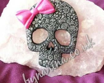 Polymer Clay Skull Necklace / Broach