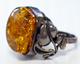 AMBER RING Sterling SILVER Ring Vintage Ring Holiday gift ideas for Her Genuine Amber Unique Old Estate Statement Real Baltic Amber Ring