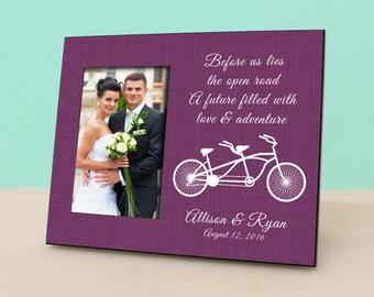 Personalized Wedding Frame - Tandem Bike - Bride groom - Personalized Picture Frame - Photo Frame Wedding Gift - Bridal Shower Gift- PF1006