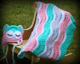 Newborn Owl and Blanket set, Newborn Photo Prop, Photograpy Prop, Crochet hat, Crochet blanket