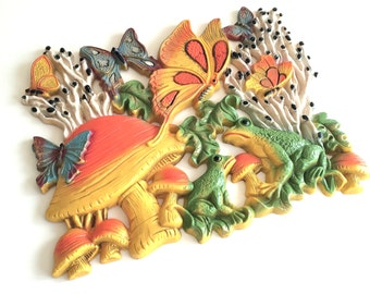 Vintage Wall Hanging Retro Homco Colorful Mushroom Butterfly Frogs Wall Hanging Plaque