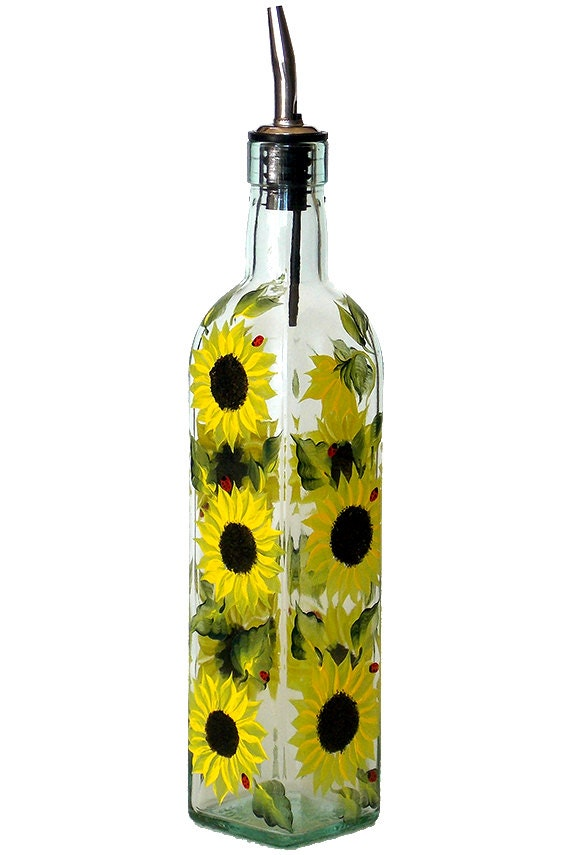 Hand painted glass bottle olive oil dispenser sunflowers for Hand painted glass bottles