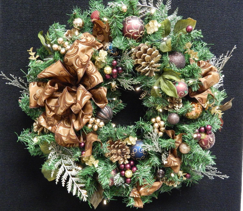 christmas wreath holiday wreath 24 pre lit cordless. Black Bedroom Furniture Sets. Home Design Ideas