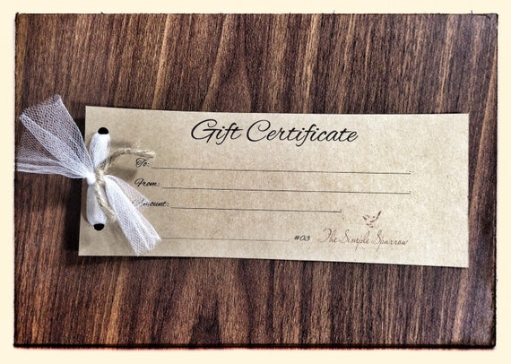 Gift Certificate Gift Card Free Shipping Rustic Home Decor