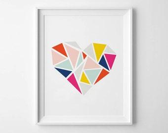 MULTICOLOR GEOMETRIC HEART - Instant Download - 8x10 - 11x14 -  Printable Art - Heart - Geometric - Minimalist-  Wall Art - Home Decor