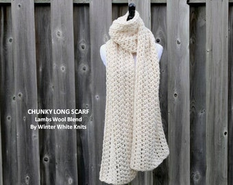 Long winter scarf, cream white scarf, chunky long scarf, cream long scarf, knitted long scarf, lambs wool blend, soft and easy to wear