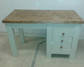 Chunky rustic reclaimed timber Desk 120x50cm Painted