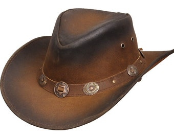 Quality   Leather Cowboy  western  Aussie style hat  conchos