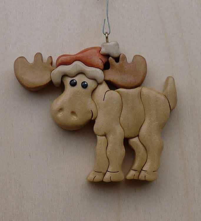 Moose handmade wooden christmas ornament
