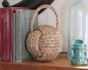 Nautical rope bookend or door stop with handle - large monkey fist knot - nursery or home decor -shelf sitter -nautical rope decor