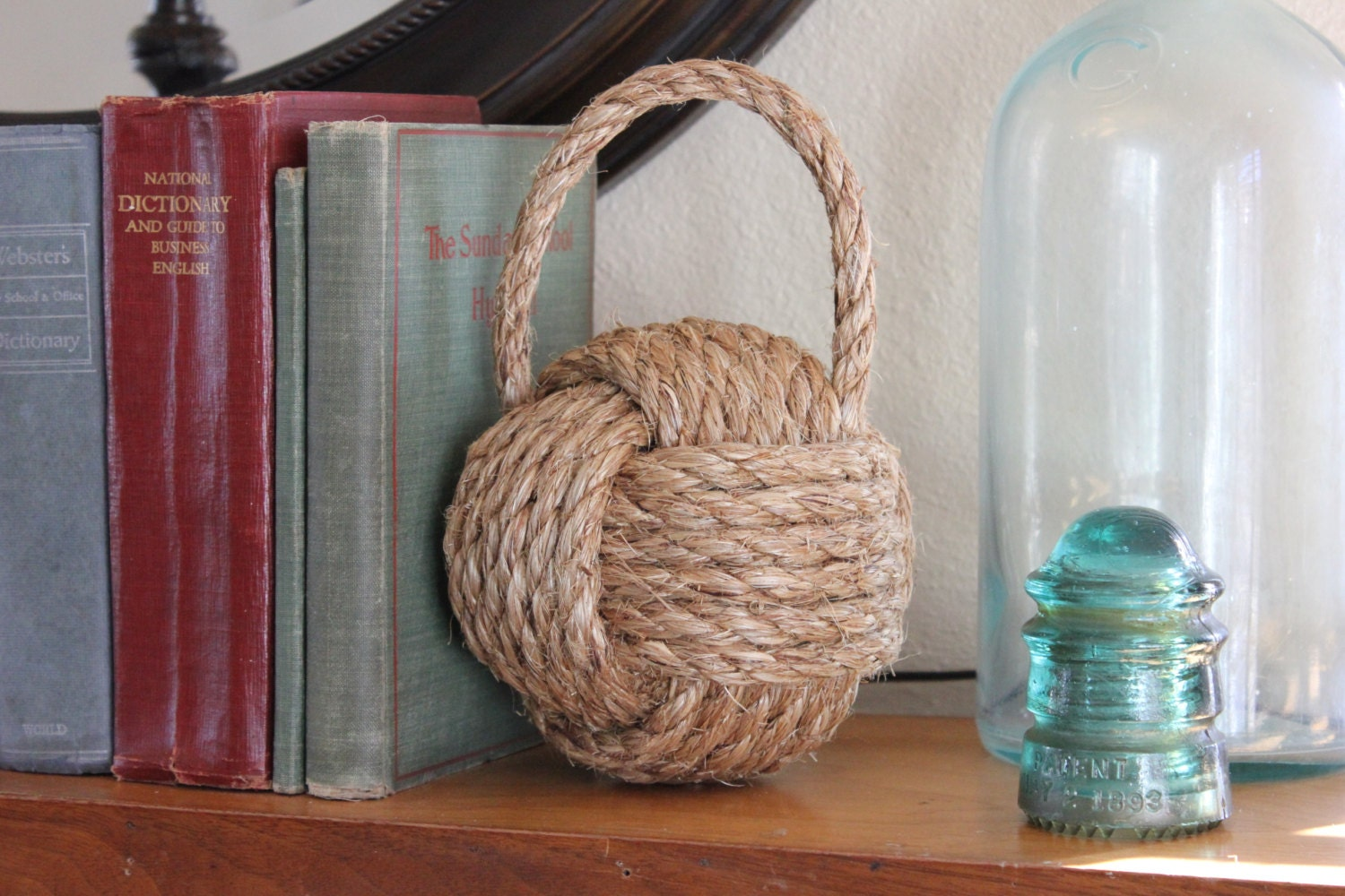 Nautical rope bookend or door stop with handle large monkey for Large nautical rope