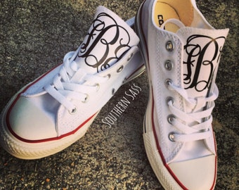 Monogrammed Converse/Chuck Taylors Womens/Kids NOT EMBROIDERED... Heat transfer