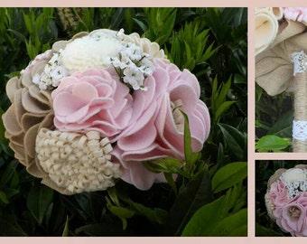 Felt Flower Bridal Bouquet - handmade