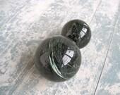 "Sale 10 Dollars Off! Vermont Serpentine Spheres Metaphysical Properties - Set of 2 Sizes: 3 1/4""  & 4"" Diameter"