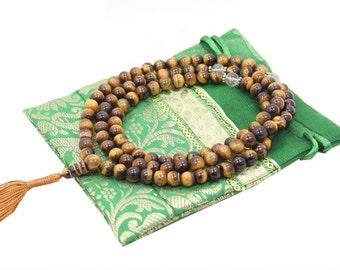 Tibetan Buddhist Genuine Tiger Eye Mala / Rosary 108 Beads / Free Pouch