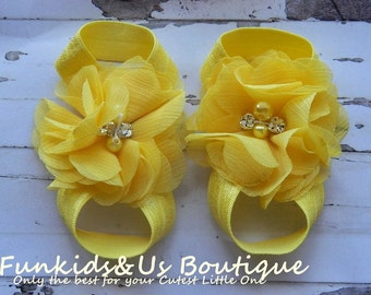 Barefoot Sandals -Yellow  barefoot Sandals- spring summer shoes- Newborn, toddlers,girl photoprop