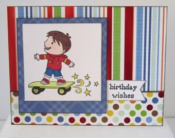 Skateboarding Kid Handmade Birthday Card