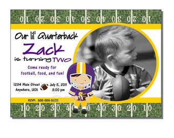 Football Invitation Birthday Party Yellow and Purple - DIGITAL or PRINTED